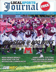 Local Sports Journal the magazine features a cover shot of the Muskegon Big Reds taking the field back on Sept. 11 when the team secured the school's 800 football win. Tim Reilly got the goods on the photo.