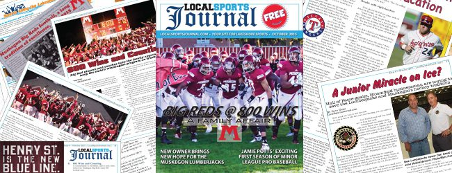 """Pick up your copy of """"Local Sports Journal"""" the magazine, featuring the Muskegon Big Reds 800 win mark"""