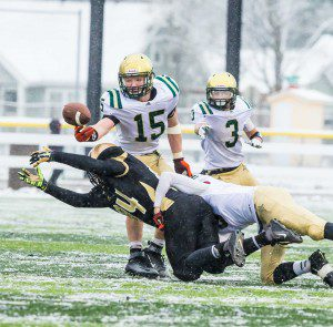 Nate Jones gets the interception late in the game to seal the MCC win. Photo/Tim Reilly