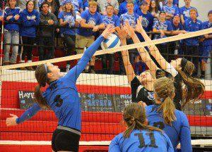 Montague's Allyssa Bobian gets one past Ravenna defenders. Photo/Jason Goorman