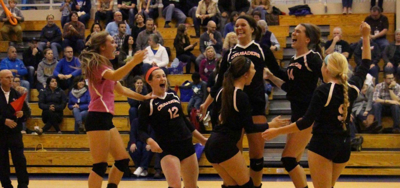 Muskegon Catholic rallies past Calvary Christian, wins sixth straight Class D volleyball championship