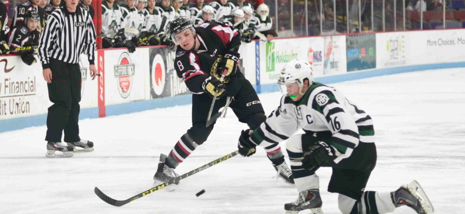Adams' overtime goal gives Lumberjacks an exciting 5-4 victory over first place Cedar Rapids