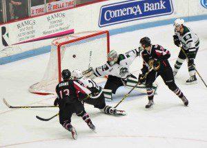 Collin Adams (13) nets the overtime game winner for the Lumberjacks. (Photo/Eric Sturr)