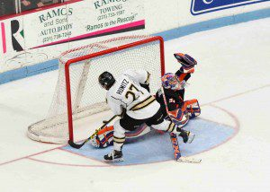 Max Humitz scores the game winning shootout goal for the Lumberjacks.  Photo/Eric Sturr