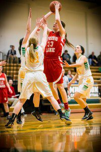 Spring Lake's No. 33 Remi French pulls up for two against MCC's Kaycie Murphy. Photo/Tim Reilly