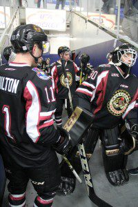 The Lumberjacks get ready to take the ice at USA Arena in Plymouth. Photo/Brian Tanis