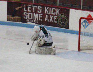 Colton Koopman makes the save for Reeths-Puffer. Photo/Jason Goorman