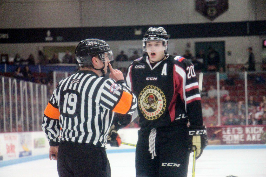 Muskegon center Matej Paulovic talks to the ref after a penalty. Photo/Jason Goorman