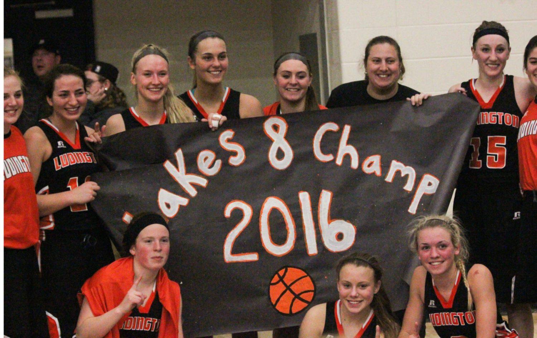 Ludington girls basketball - 2015-16 Lakes 8 champs. Photo/Grand Haven Tribune