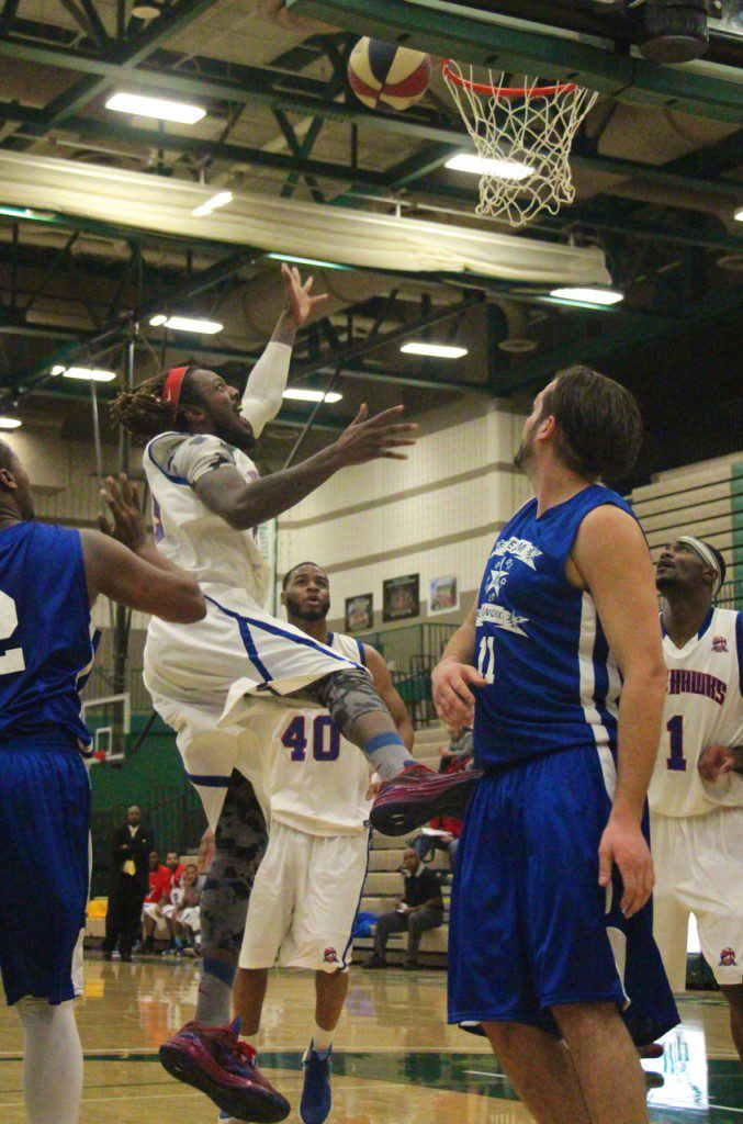 Ralph Monday on the two-point put back for the Lake Hawks. Photo/Jason Goorman