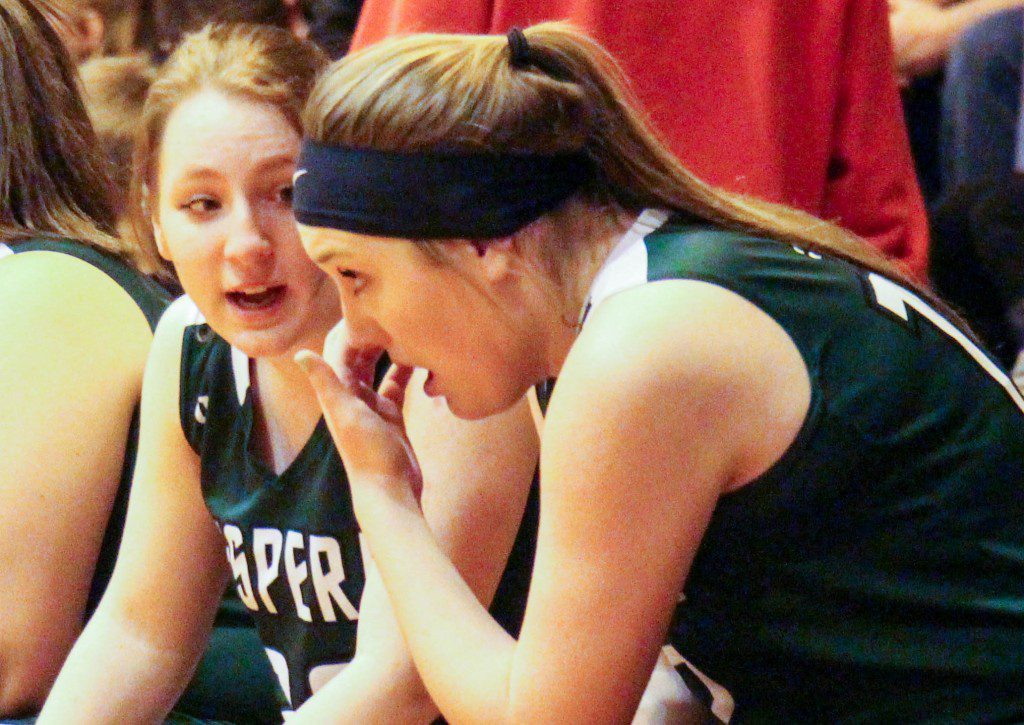Kayleen Craner has a frustrating moment on the bench as teammate Dezi Nowlin offers encouragement. Photo/Jason Goorman