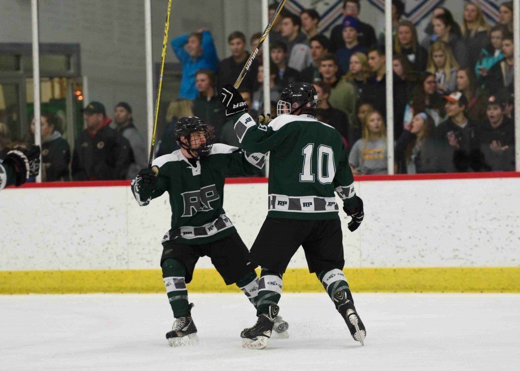 Reeths Puffer's Mason Convertini (10) celebrates a top shelf goal from the point. (Photo/Eric Sturr)