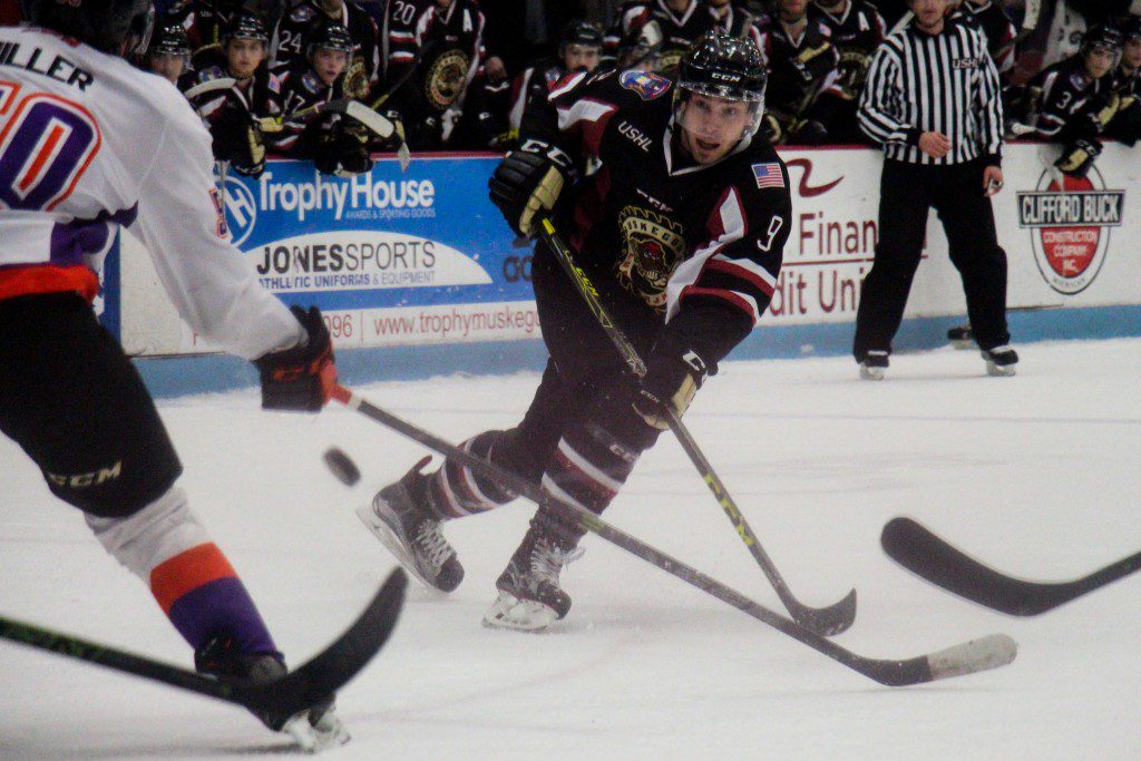 Muskegon left defenseman Bo Hanson rips a shot. Photo/Jason Goorman