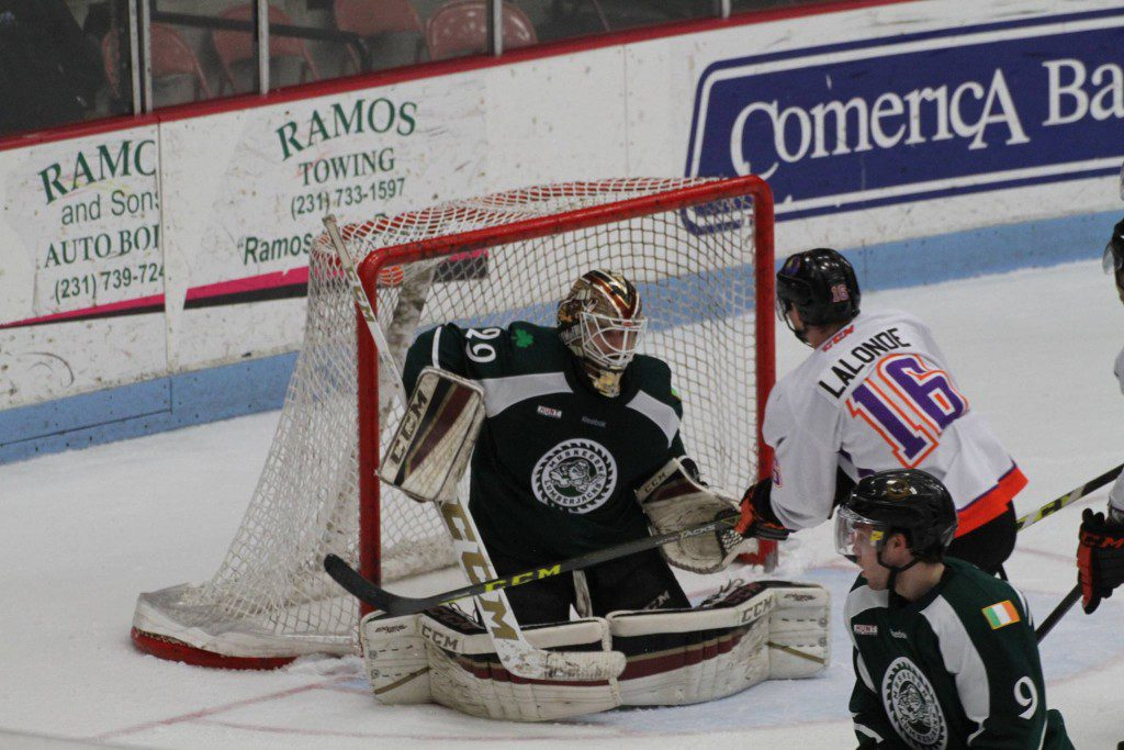 Joey Daccord makes the save for Muskegon. Photo/Carol Cooper