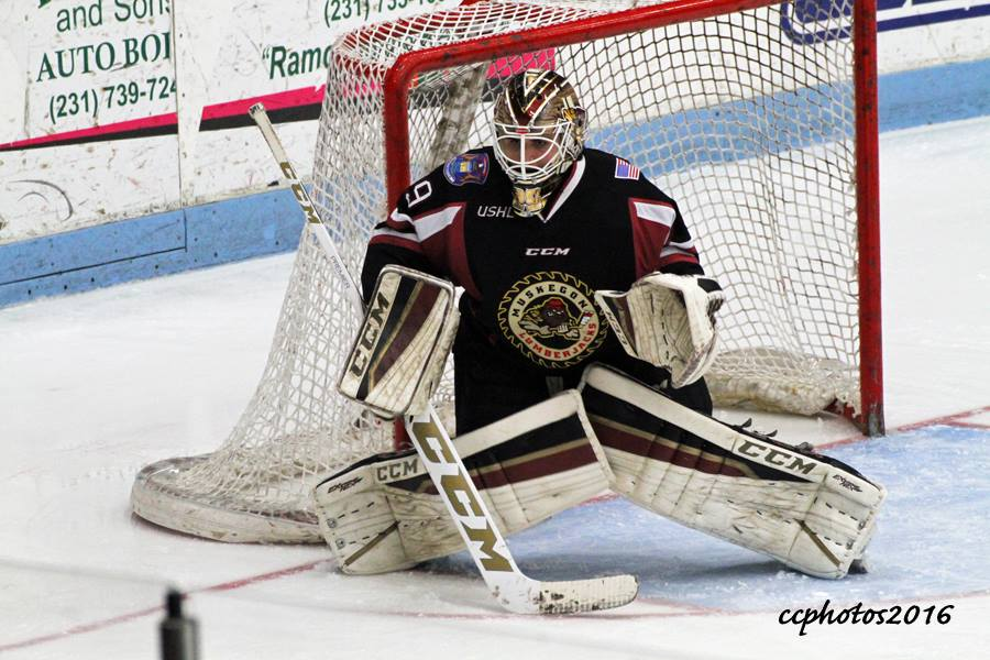 Muskegon Lumberjack goalie Joey Daccord gets ready to make the save. Photo/Carol Cooper