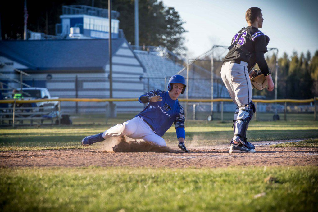 Montague's Jacob Buschberger slides into third base. Photo/Tim Reilly