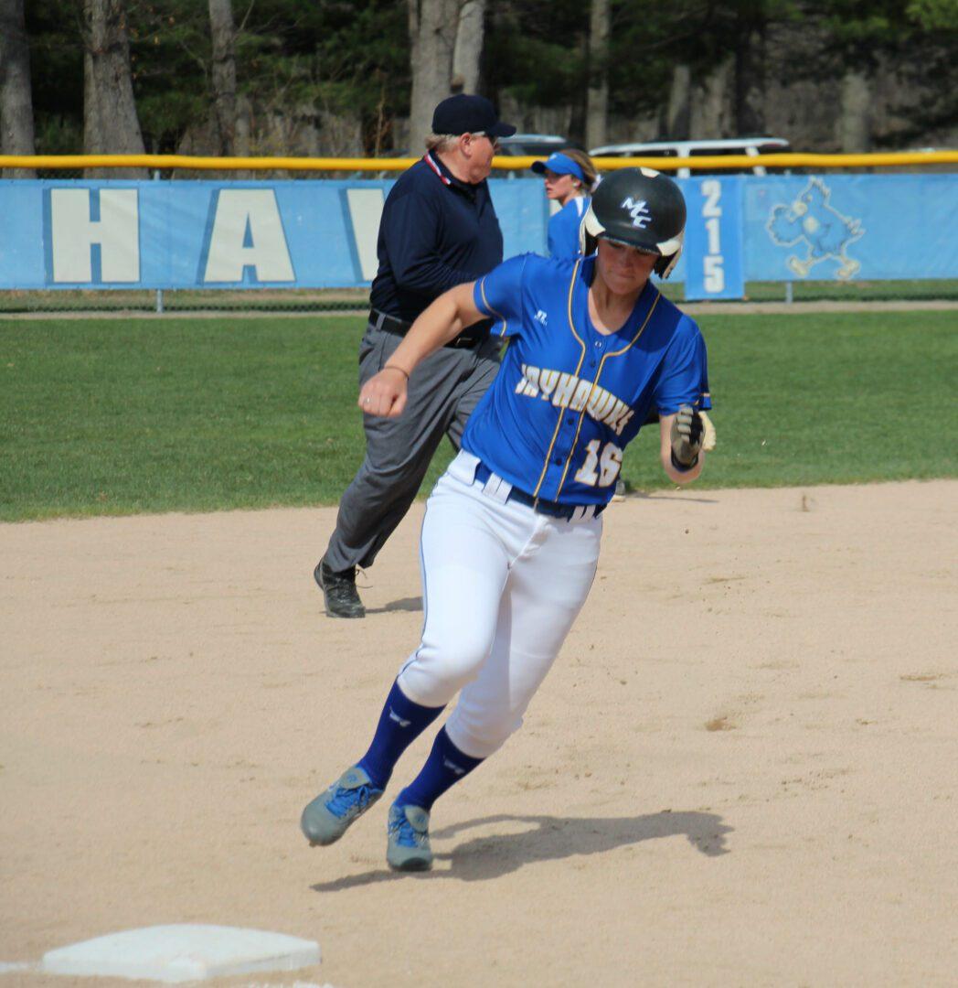 Alysia Felkersma rounds third base for MCC. Photo/Steve Gunn