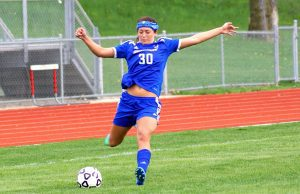 Oakridge senior McKenzie Davis unleashes a kick. Photo/Leo Valdez
