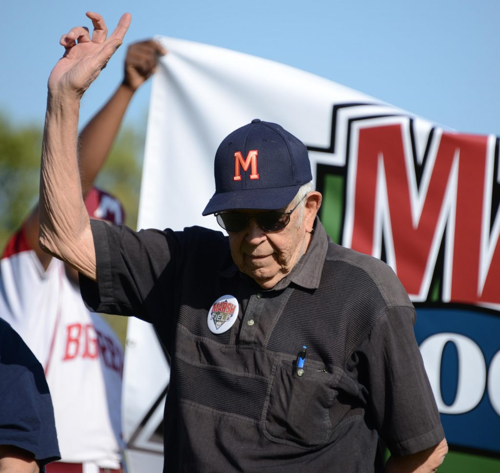 Local author and baseball historian Marc Okkenen is introduced during ceremonies. Photo/Marc Hoeksema