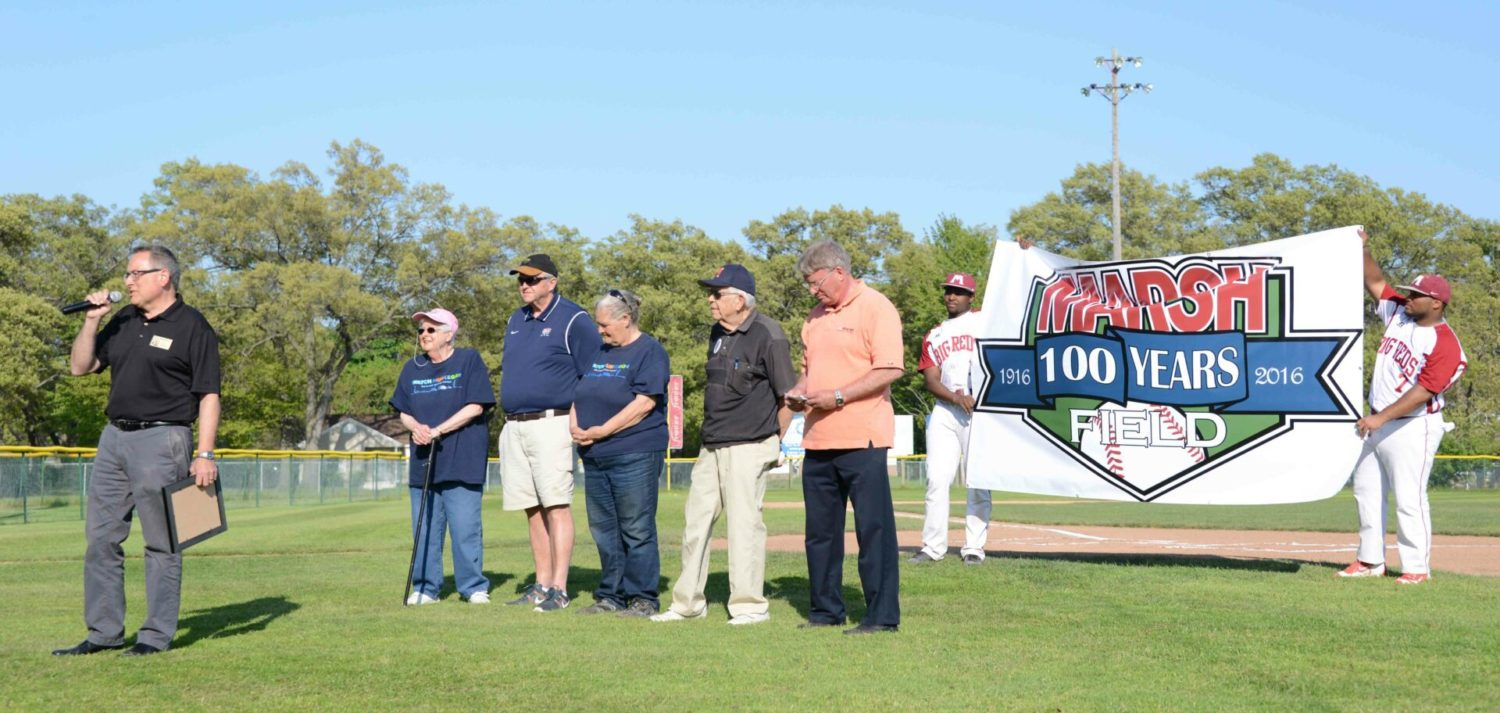 Marsh Field celebrates 100th birthday with speeches, cake and a fun doubleheader