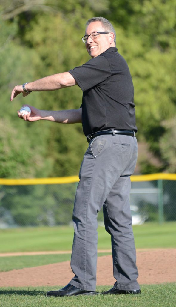 Muskegon Mayor Steve Gawron throws out the ceremonial first pitch. Photo/Marc Hoeksema