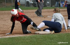 Jenna Core makes it to third base for the Lakers. Photo/Carol Cooper