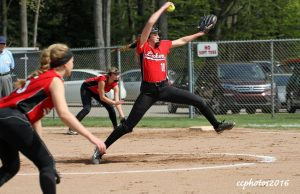 Lauren Somers winds up to deliver a ptch for Spring Lake. Photo/Carol Cooper