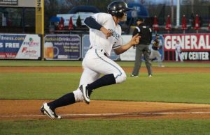 Cam Gibson rounds third base to score his second run of the night for the Whitecaps. Photo/Jason Goorman