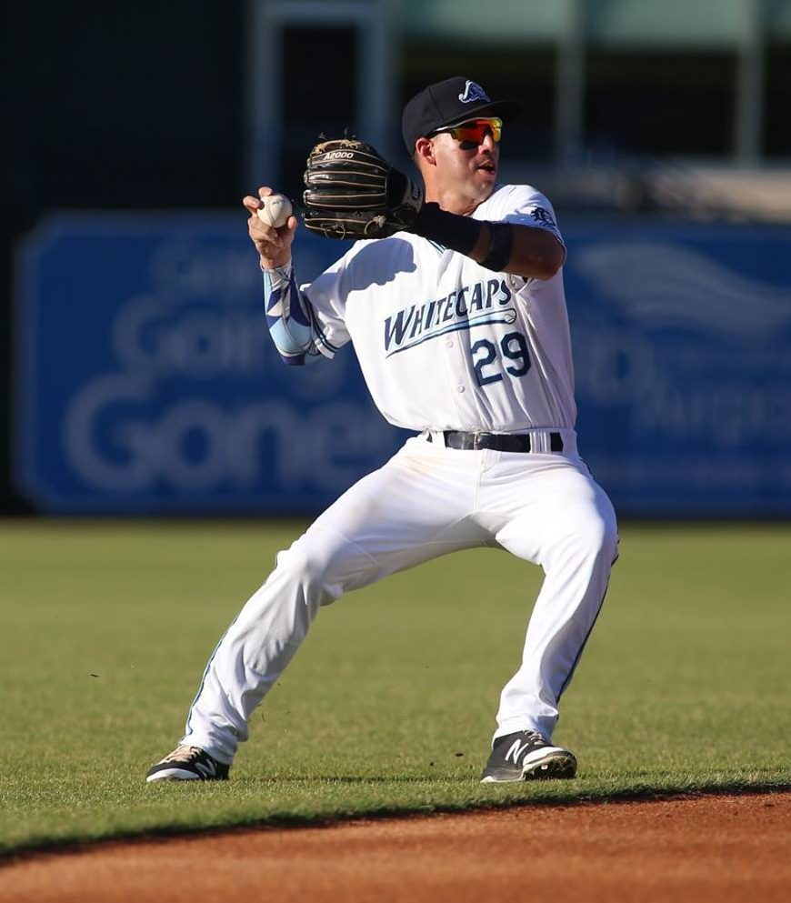Leonardo Laffita gets ready to rifle a throw to first base for the Whitecaps. Photo/Tom Reynolds