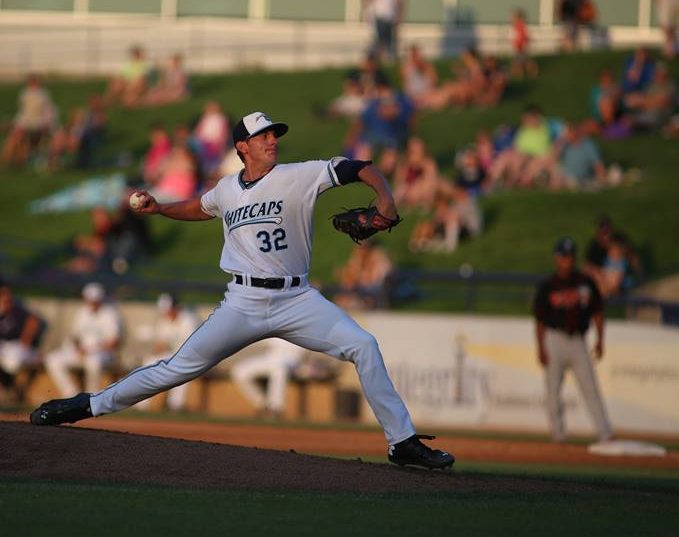 Kyle Dowdy delivers the pitch for the Whitecaps. Photo/Tom Reynolds