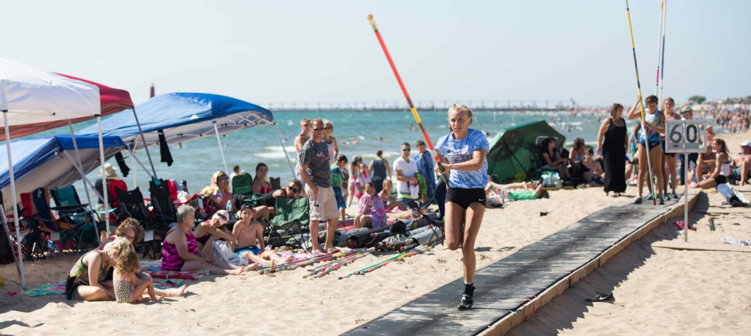 Grand Haven beach pole vault event brings 300 vaulters including two-time state champ Bella LeRoux
