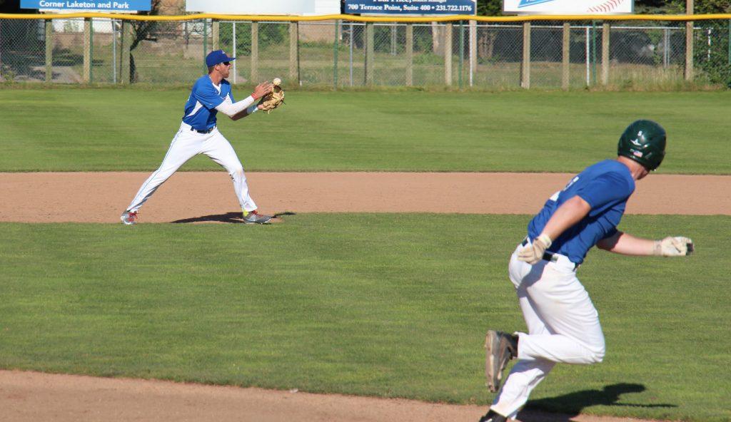 Blue Jays third baseman Eric Robillard throws to second . Photo/Jason Goorman