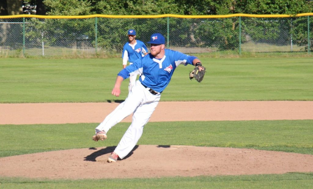Jamie Potts delivers a pitch for the Blue Jays in city league action. Photo/Jason Goorman