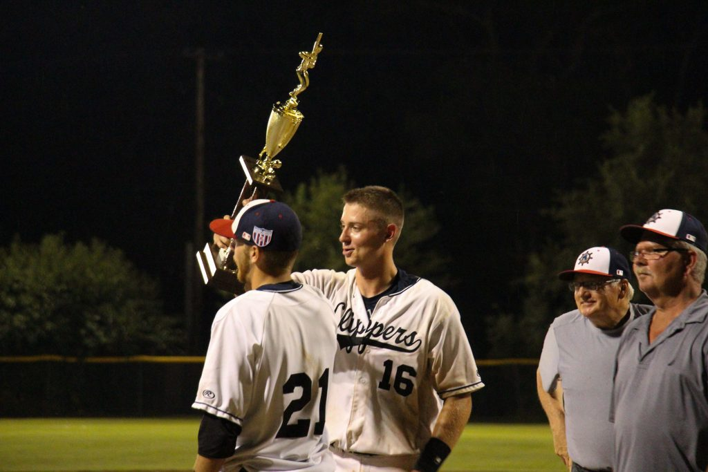 MVP Connor Glick lifts the championship trophy for the Clippers. Photo/Jason Goorman