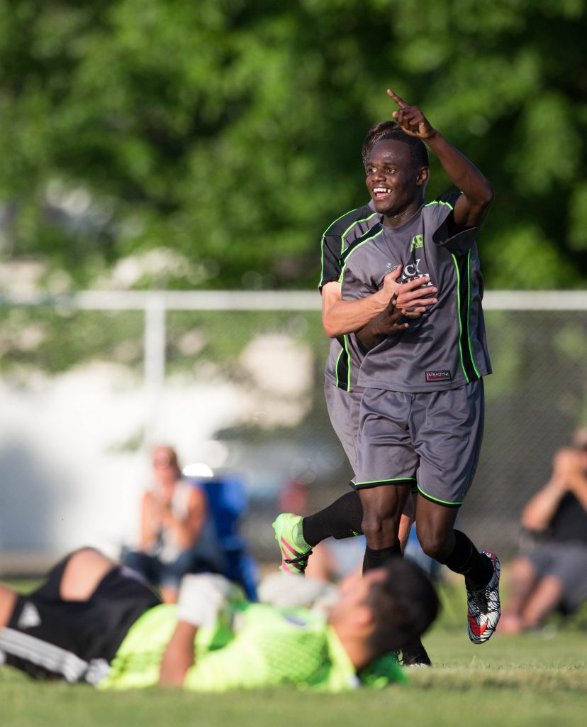 Daniel Luzindya celebrates his game winning goal. Photo/Kevin Sielaff