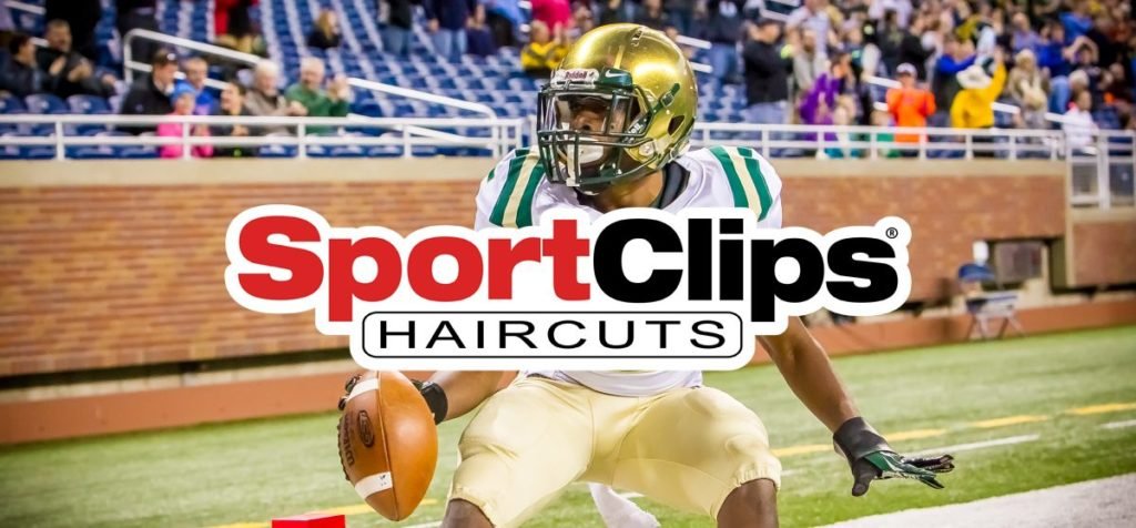 Sport Clips logo on across the top football photo art