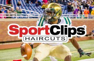 Sport Clips logo on across the top football photo art