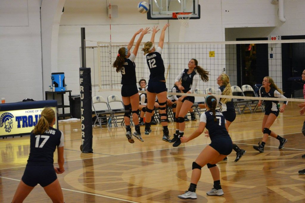 No. 12 Ally German goes up for the block.