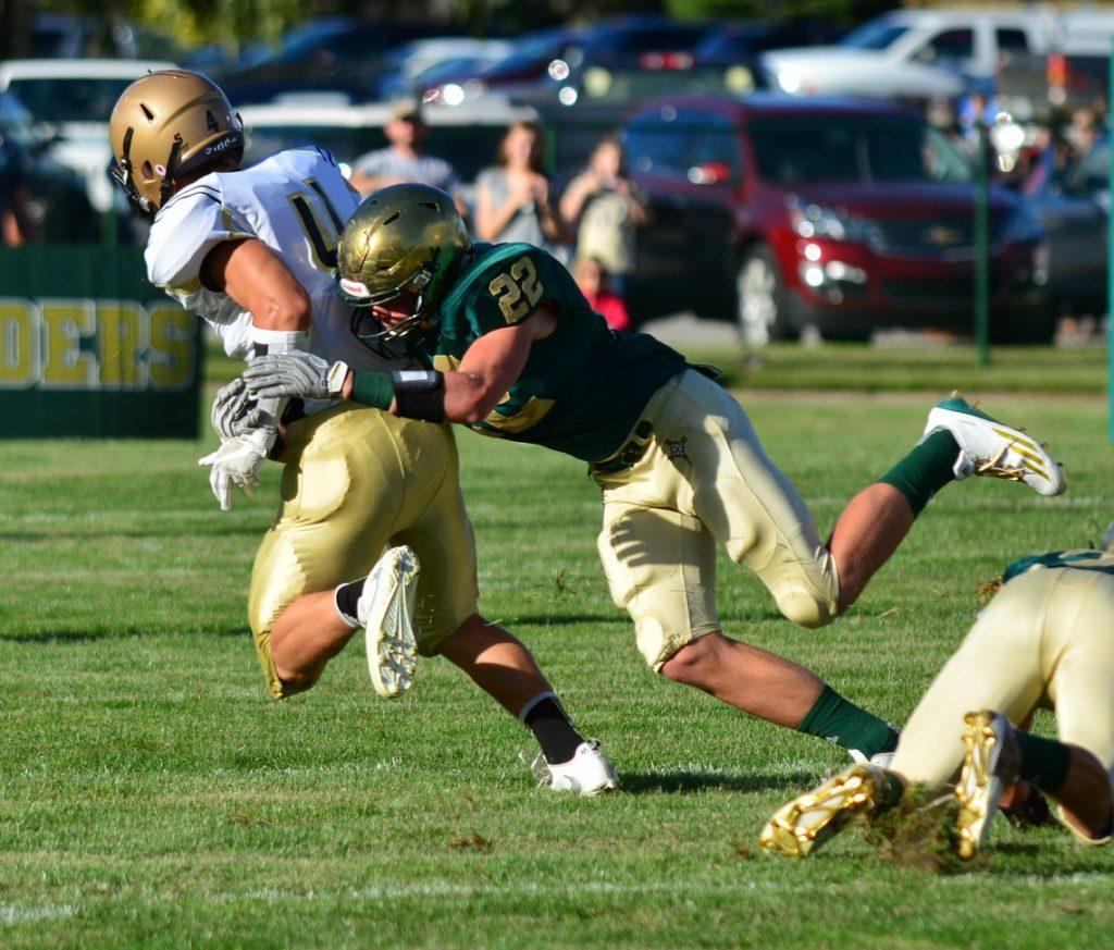 Mason Convertini makes the open field tackle for MCC. Photo/Michael Banka
