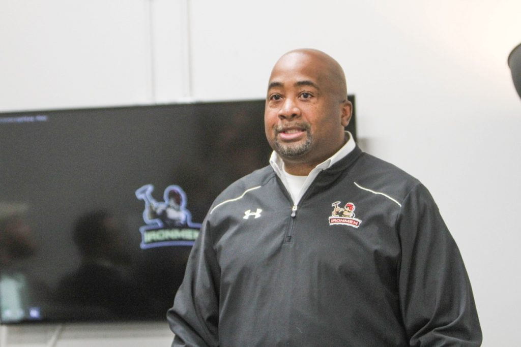 West Michigan Ironmen Coach Ty Lynk talks during press conference about the new league. Photo/Joe Lane