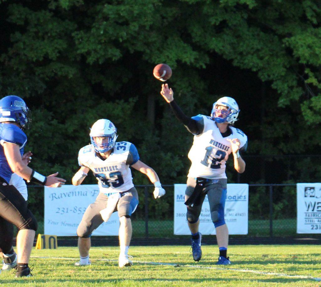 Montague QB Dylan Stever makes the pass. Photo/Jason Goorman