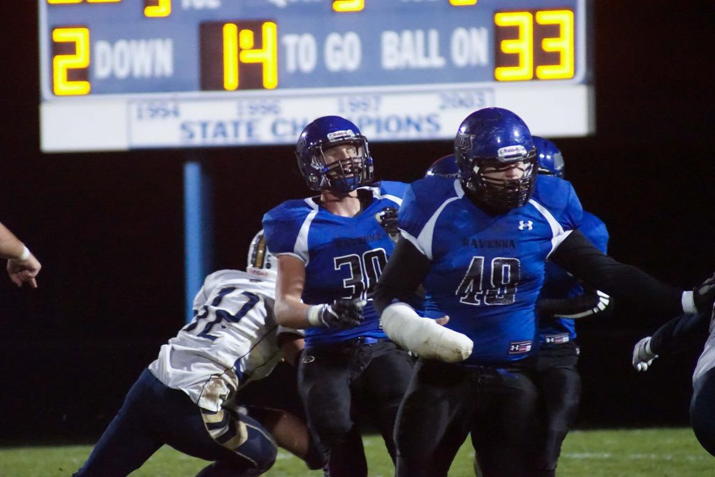 Ravenna's No. 30 Tierstyn McBride and No. 48 Shane Goebel react as the play progresses. Photo/Leo Valdez