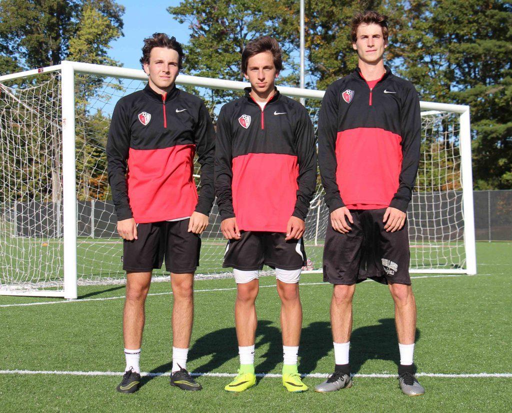Brad Debian, Dylan Constantine and Ryan Zietlow have been key senior leaders for Spring Lake soccer this season. Photo/Jason Goorman