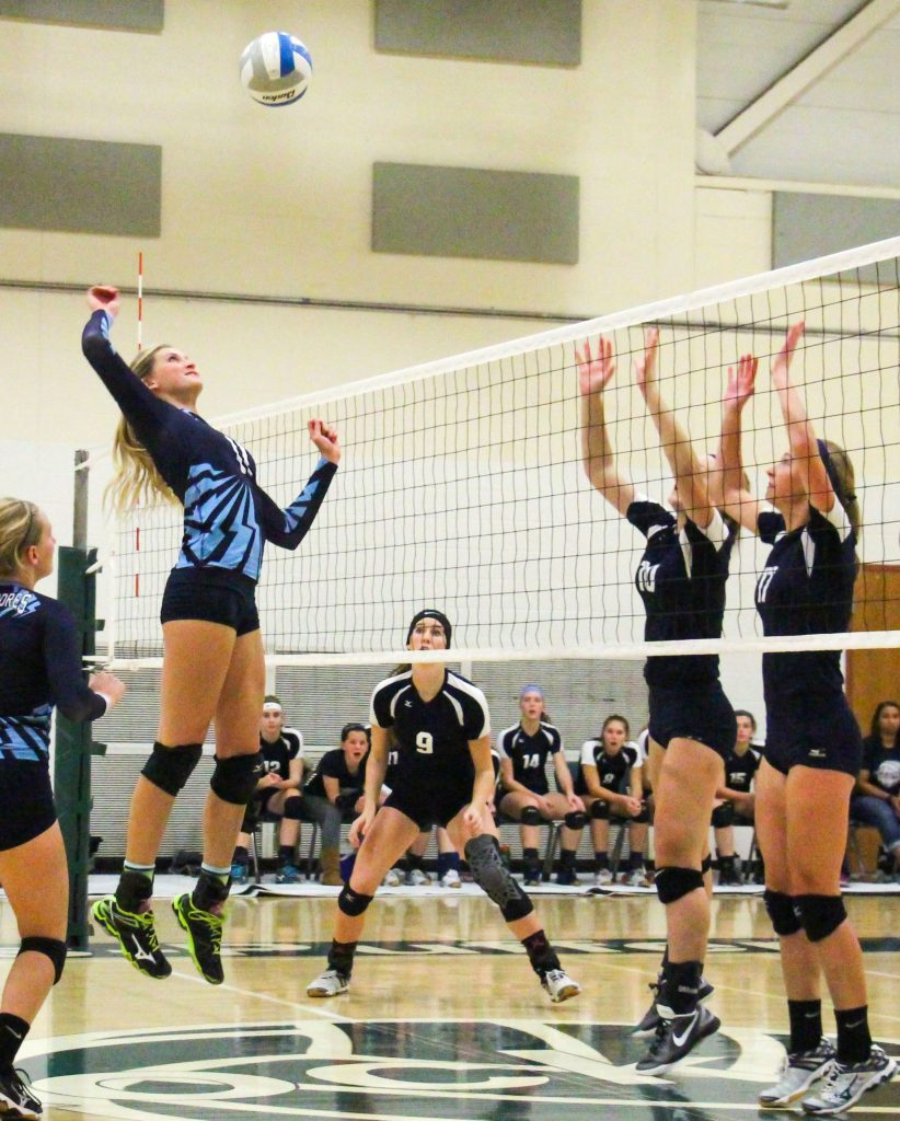 Madison Dunn goes up for the Mona Shores spike.