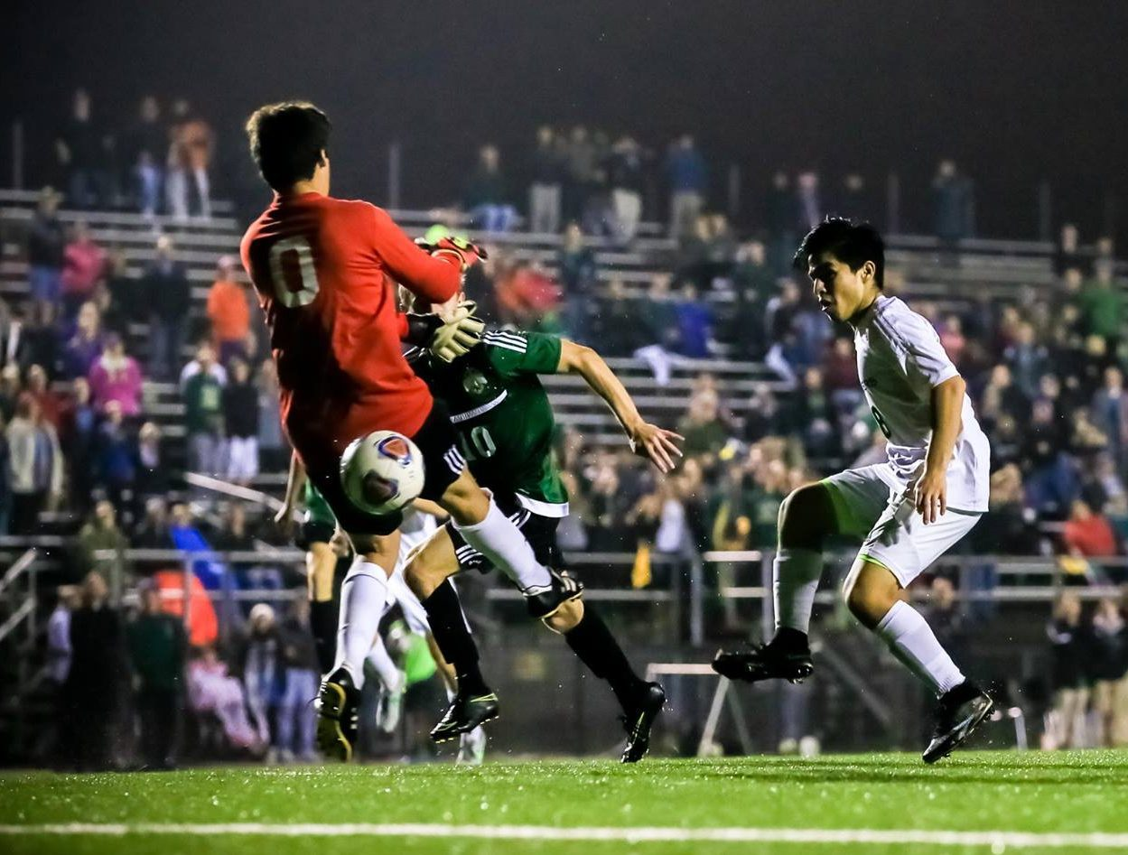 Jose Zambrano scores teh equalizing goal with 10 seconds left in regulation for MCC. Photo/Tim Reilly