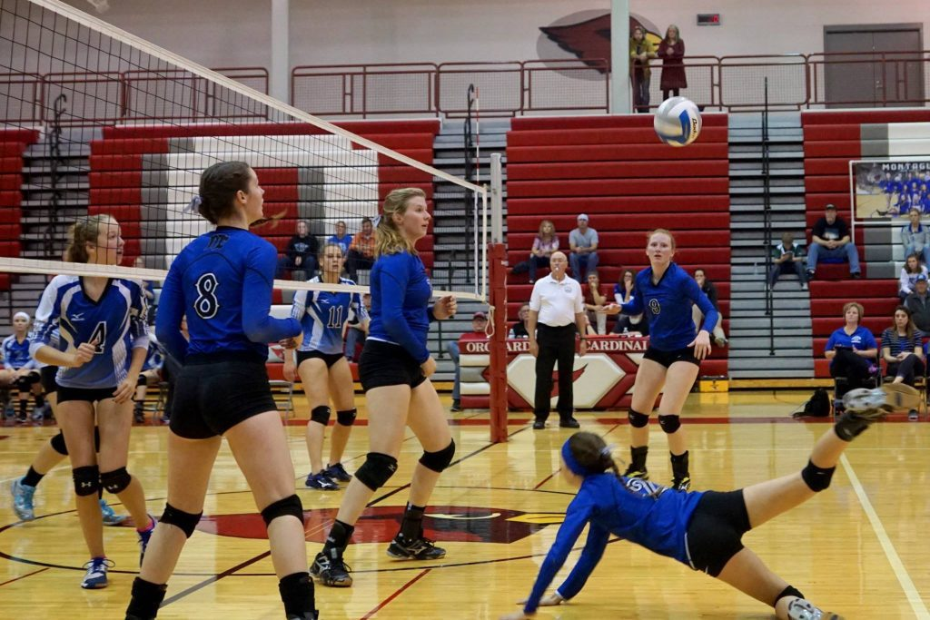 Montague's No. 2 Madelyn Wynn makes the dig to keep the rally alive. Photo/Leo Valdez