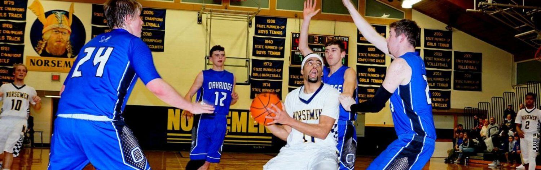 Norse boys lock down on defense, beat Oakridge 46-34 in conference contest