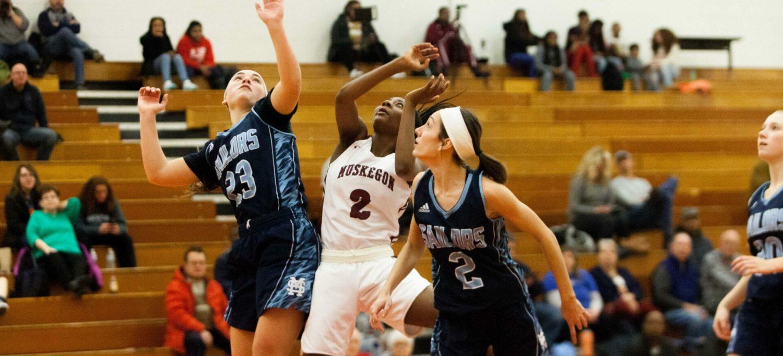 Muskegon girls basketball team defeats Mona Shores with a balanced scoring attack