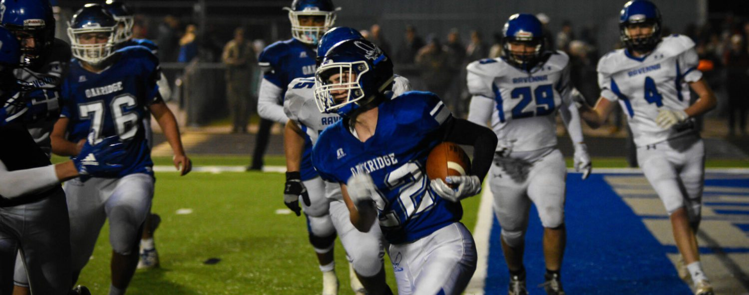Oakridge storms back from 2 TD deficit, beats Ravenna in OT, takes conference crown