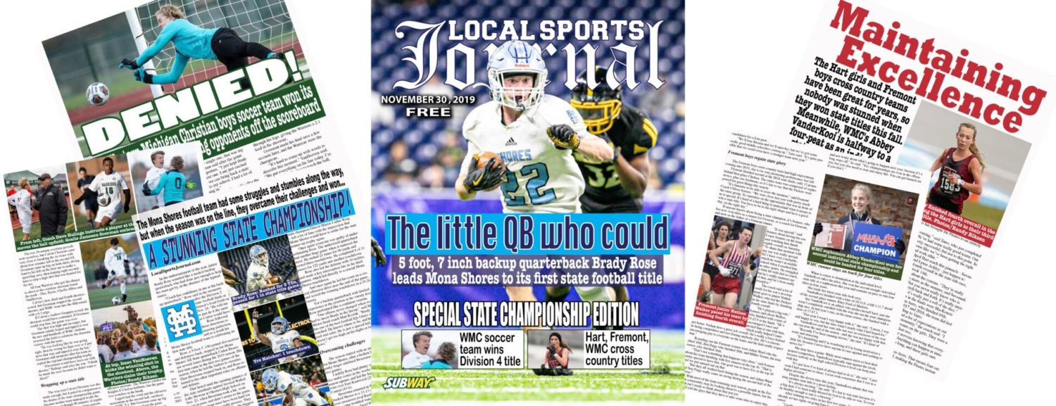 Special state championship edition magazine featuring a Mona Shores football at area news stands today!